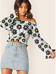 cheap -Women's Crop Top Floral Graphic Prints Flower Long Sleeve Ruffle Print Off Shoulder Tops Puff Sleeve Basic Basic Top White Black Yellow