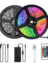 cheap -2x5M Flexible LED Strip Lights Light Sets RGB Tiktok Lights 300 LEDs SMD5050 10mm 1 12V 6A Adapter 1 24Keys Remote Controller 1 set Multi Color Waterproof Cuttable Party 85-265 V