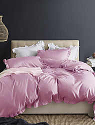 cheap -Pink 3-Piece Duvet Cover Set Hotel Bedding Sets Comforter Cover with Soft Lightweight Microfiber and Lotus Leaf Edge Decoration(Include 1 Duvet Cover and 1or 2 Pillowcases)
