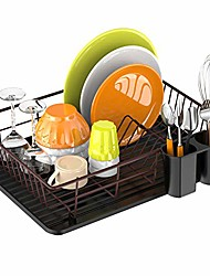 cheap -dish drying rack, small dish rack drainer with drain board for kitchen counter, bronze