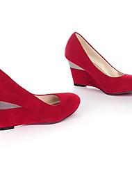 cheap -Women's Heels Wedge Heel Round Toe Casual Basic Daily Walking Shoes Nubuck Color Block Black / Red Black Purple