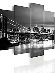 cheap -new york skyline wall art painting home decor canvas design black and white pictures 5 pieces (20inch x 40inch)