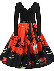 cheap -Halloween Women's A-Line Dress Knee Length Dress - Long Sleeve Print Bow Patchwork Print Summer V Neck Elegant Hot Vintage Slim 2020 White Blue Orange S M L XL XXL