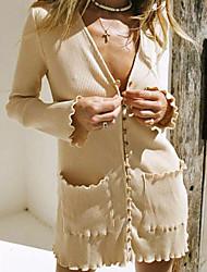 cheap -Women's Sweater Jumper Dress Short Mini Dress - Long Sleeve Pocket Fall Winter V Neck Sexy Slim 2020 Beige S M L