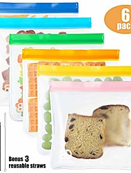 cheap -reusable sandwich bags (6-pack large size), reusable leakproof ziplock kids snack bags, fda grade peva biodegradable storage baggies for food, lunch, make-up (+ 3 metal straws + 1 straw brush)