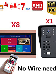 cheap -MOUNTAINONE SY710G008WF18 7 Inch Wireless WiFi Smart IP Video Door Phone Intercom System With One 1080P Wired Doorbell Camera And 8x Monitor Support Remote Unlock