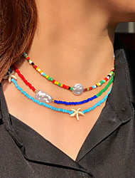 cheap -Women's Choker Necklace Beaded Necklace Handmade Mini Friends Star Starfish Blessed Unique Design Ethnic Fashion Trendy Imitation Pearl Glass Alloy Rainbow 43 cm Necklace Jewelry 3pcs For Street Gift