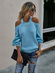 cheap -Women's Basic Open Back Knitted Solid Color Plain Pullover Acrylic Fibers Long Sleeve Loose Sweater Cardigans Crew Neck Round Neck Fall Winter Black Blue Dark Gray
