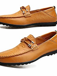 cheap -men's leather loafers casual driving boat shoes slip-on classic comfortable dress shoes yellow