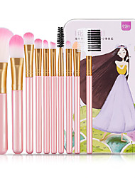 cheap -10 Pcs Makeup Brush Set Eye Shadow Brush Lip Brush Beginner Full set of Beauty Tools with Iron Box