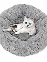 cheap -fluffy pet bed- dog bed for small dogs with round donut shape, pet calming bed for dogs cats rabbit, warm& cozy& machine washable- grey