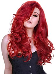 cheap -Cosplay Wig Premium Red Body Wave Asymmetrical Wig Medium Length Red Synthetic Hair Women's Anime Cosplay Exquisite Red