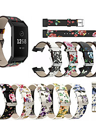 cheap -Genuine Leather Printed Strap For Fitbit Charge 4 Watch Accessories Bracelet Replacement For Fitbit Charge 3 Watch band