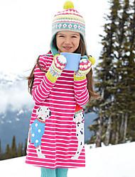 cheap -Kids Girls' Cute Dog Deer Polka Dot Striped Animal Patchwork Long Sleeve Above Knee Dress Blue