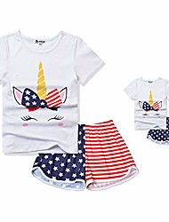 cheap -america girls pajamas matching dolls&kids 4th july pjs sets unicorn pyjama 12 13