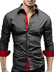 cheap -Men's Shirt Long Sleeve Tops Streetwear Black And White Sapphire Navy