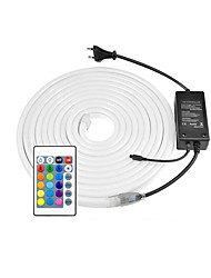 cheap -220V LED Neon Strip 2835 120LED/M Soft Neon Rope Light LED Tape Power Plug RGB Controller 8x16mm 5m 10m 20m