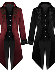 cheap -Plague Doctor Victorian Steampunk Winter Coat Frock Coat Men's Costume Black / Red Vintage Cosplay Party Halloween Long Sleeve