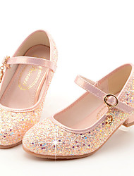cheap -Girls' Heels Moccasin Flower Girl Shoes Princess Shoes Rubber PU Little Kids(4-7ys) Big Kids(7years +) Daily Party & Evening Walking Shoes Rhinestone Buckle Sequin White Blue Pink Spring Fall / TR