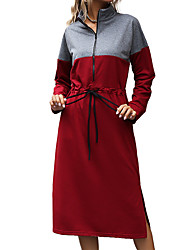 cheap -Women's Tee Dress Front Zipper Stand Collar Color Block Sport Athleisure Dress Long Sleeve Warm Soft Oversized Comfortable Everyday Use Daily Outdoor