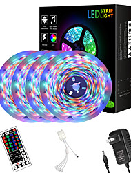 cheap -65ft  4 x 5 Meter 2835 RGB LED Flexible Light Strip with Four Connector Integrated New IR44 Key Controller and Adapter Kit DC12V