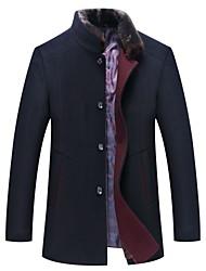 cheap -Men's Solid Colored Basic Fall & Winter Coat Long Daily Long Sleeve Wool Coat Tops Black