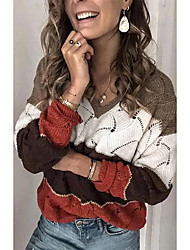 cheap -Women's Stylish Knitted Color Block Pullover Acrylic Fibers Long Sleeve Sweater Cardigans V Neck Fall Winter White Purple Blushing Pink