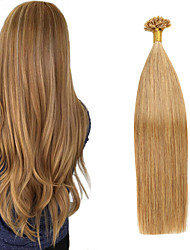 cheap -Fusion / U Tip Hair Extensions Remy Human Hair Nail Tip Hair Extensions 50 pcs 50 g Pack Straight Brown 16-24 inch Hair Extensions