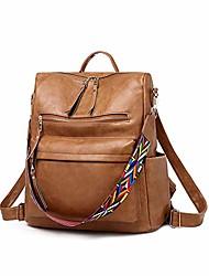 cheap -women fashion backpack purse, convertible ladies daypack colorful strap shoulder bag handbags, brown