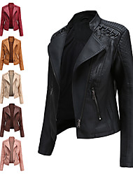 cheap -Women's Faux Leather Jacket Regular Solid Colored Daily Basic Black Red Blushing Pink Camel S M L XL