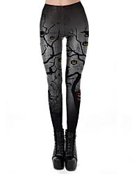 cheap -Women's Exaggerated Breathable Slim Halloween Leggings Pants Plants Ankle-Length Print High Waist Black