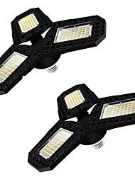 abordables -Luz de garaje led de 2 piezas luz de techo deformable de tres hojas para el taller de almacén en casa lámpara de deformación plegable de 360 grados paneles ajustables de múltiples posiciones ac85-265v