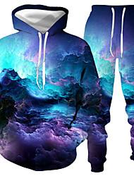 رخيصةأون -رجالي مناسب للبس اليومي Activewear مجموعة الرسم قطعتين كاجوال هوديس بلوزات أزرق