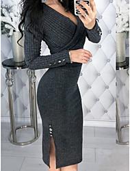 cheap -Women's A-Line Dress Knee Length Dress - Long Sleeve Solid Color Patchwork Fall V Neck Sexy Slim 2020 Blue Wine Dark Gray Brown S M L XL XXL 3XL 4XL 5XL