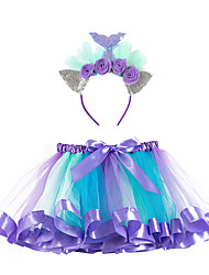 cheap -Kids Girls' Children's Day Skirt Blue Mermaid Tail Color Block Lace up Mesh Bow Active