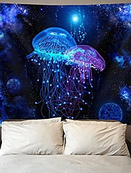 cheap -cosmic galaxy under sea ocean jellyfish wall tapestry hippie art tapestry wall hanging home decor extra large tablecloths 60x70 inches for bedroom living room dorm room