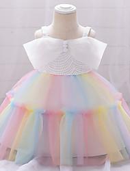 cheap -Toddler Little Girls' Dress Patchwork Layered White Blue Blushing Pink Knee-length Sleeveless Dresses Children's Day Slim