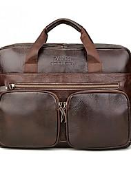 cheap -Men's Bags PU Leather Laptop Bag Briefcase Top Handle Bag Belt Zipper 2020 Office & Career Brown