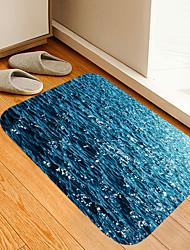 cheap -Blue Waves Flowers Digital Printing Mats Flowers Kitten Girl Modern Bath Mats Nonwoven / Memory Foam Novelty Bathroom