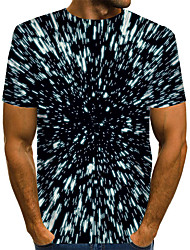 cheap -Men's Graphic optical illusion T-shirt Print Short Sleeve Daily Tops Basic Exaggerated Round Neck Black