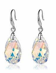 cheap -swarovski crystal teardrop dangle hook earrings for women 14k gold plated hypoallergenic jewelry (amethyst)