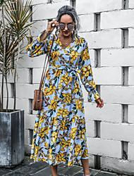 cheap -Women's A-Line Dress Maxi long Dress - Long Sleeve Floral Ruffle Patchwork Fall V Neck Casual Flare Cuff Sleeve Slim 2020 Light Blue S M L XL