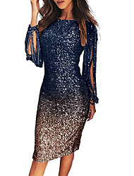 cheap -Women's Sheath Dress Knee Length Dress - Long Sleeve Color Block Sequins Tassel Fringe Fall Hot Sexy Party Slim 2020 Black Blue Purple Blushing Pink Gold Gray Light Blue S M L XL XXL