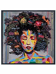 cheap -graffiti street wall art abstract modern african women portrait oil painting printed on canvas for living room(50cm x 50cm)