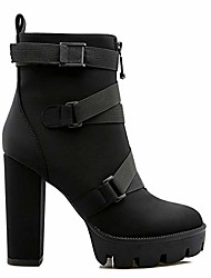 cheap -women's fashion buckle strap platform ankle boots - comfy round toe zipper chunky high heel booties - black size 6