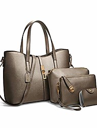 cheap -fashion women's pu leather handbag shoulder bag purse card holder 4pcs set tote (m(332414cm), bronze)