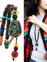 cheap -Women's Pendant Necklace Beaded Necklace Retro Friends Precious Gemini Lucky Blessed Dainty Luxury Unique Design Vintage Wooden Resin Alloy Brown 75 cm Necklace Jewelry 1pc For Street Sport Gift Prom