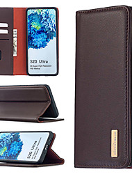 cheap -Case For Samsung Galaxy S20Ultra S20 A70S A71 A51 A31 Note10 Plus A50 A30 A20 A20E A10 M10 A40S A21 A41 A10E S10 Plus S10 E  Card Holder  Flip  Magnetic Full Body Cases Solid Colored Genuine Leather