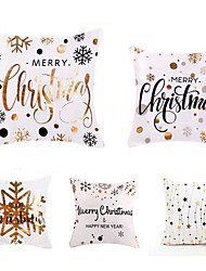 cheap -1 Set of 5 pcs Christmas Series Decorative Linen Throw Pillow Cover for Christmas Gift Home Decoration,18 x 18 inches 45 x 45 cm