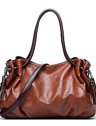 cheap -Women's Bags PU Leather Top Handle Bag Tassel Zipper Daily Date Handbags Wine Black Brown
